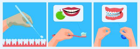 Illustration pour Doctor dentist office, care banner, medical dental health, tooth concept, oral treatment, design, flat style vector illustration. - image libre de droit