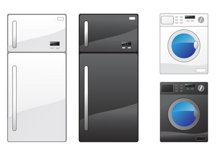 Modern refrigerator and washing machine on the white