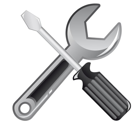 Wrench and screwdriver icon for web design