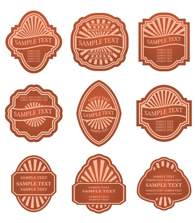 Set of old brown labels for design food and beverages