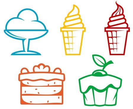 Set of dessert food isolated on white for design