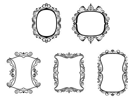 Set of vintage frames in victorian style for design