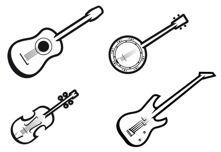 Set of string musical instruments for music design
