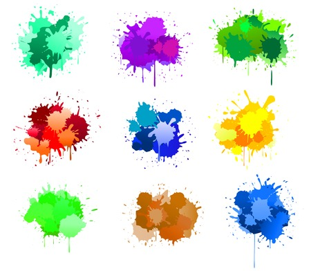 Color ink blots isolated on white for design