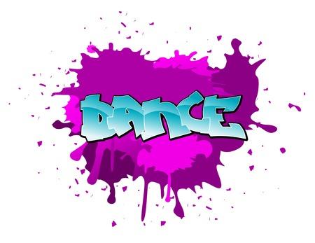 Dance urban graffiti design on blobs background