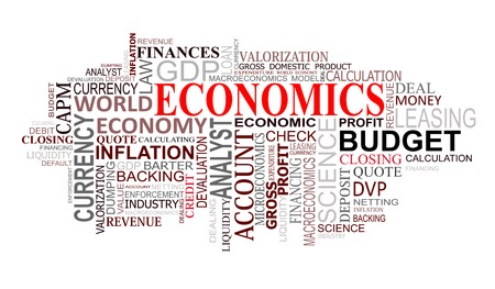 Economics and finance tags cloud for design