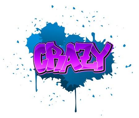 Crazy graffiti design on blue blobs background