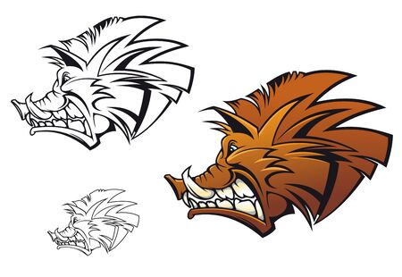 Wild boar in cartoon style as a tattoo or mascot