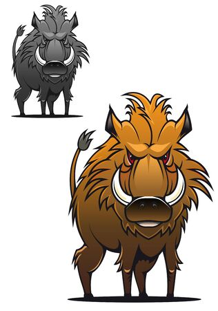 Wild boar in cartoon style as a tattoo or mascot