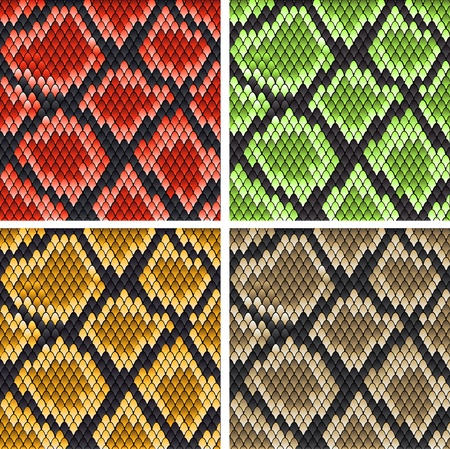 Set of snake skin patterns for design or ornate