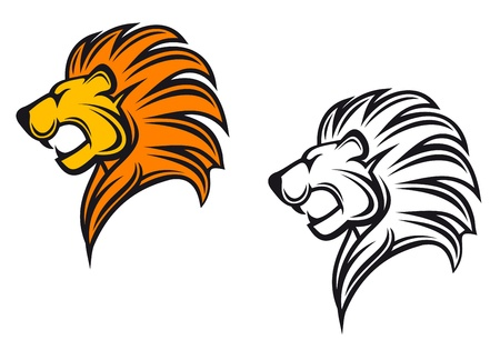 Illustration for Isolated lion head as a heraldic symbol or sign - Royalty Free Image