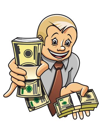 Cheerful businessman with money as a success concept