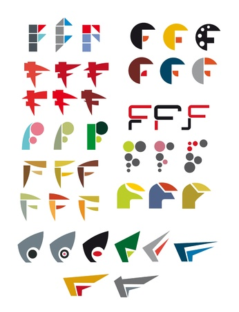 Set of alphabet symbols and elements of letter F