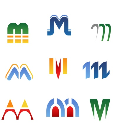 Set of alphabet symbols and elements of letter M