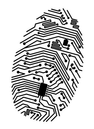Motherboard fingerprint for security or computer concept design