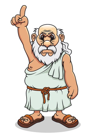 Ancient greek man in cartoon style for comics design