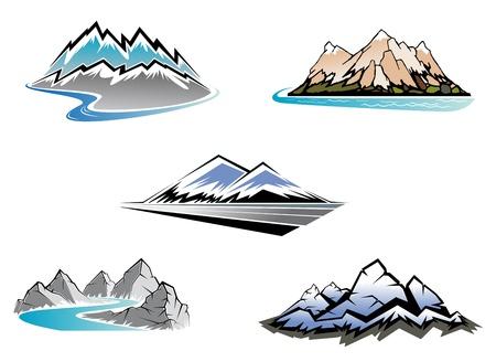 Illustration pour Set of mountain symbols for majestic design - image libre de droit