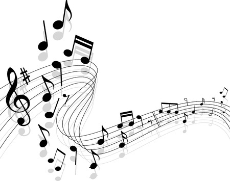 Notes with music elements as a musical background design