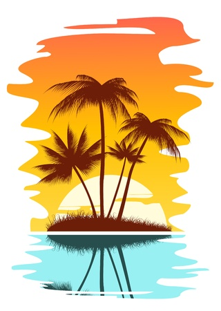 Illustration pour Tropical abstract background with palms and sunset - image libre de droit