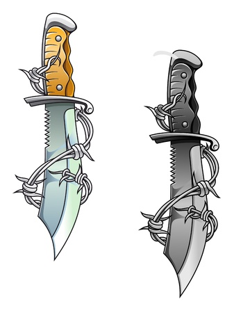 Vintage sharp dagger with barbed wire for tattoo design