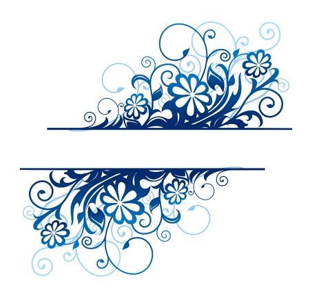 Illustration pour Blue floral borders with flowers and blossoms - image libre de droit