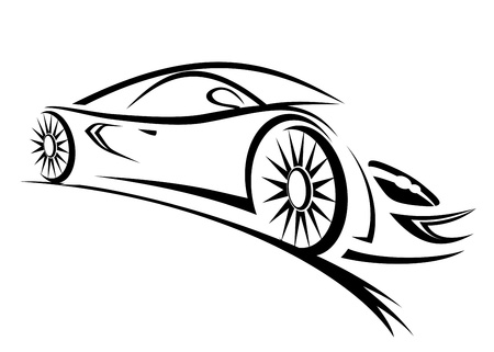 Silhouette of racing car for sports design