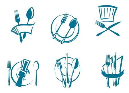 Restaurant menu icons and symbols set for food industry design