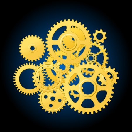 Clockwork mechanism with gears for technology or time concept design