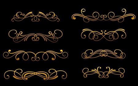 Set of vintage golden monograms and decorations for design