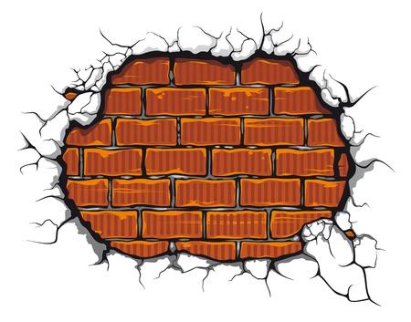 Damaged brickwall in cartoon style for design