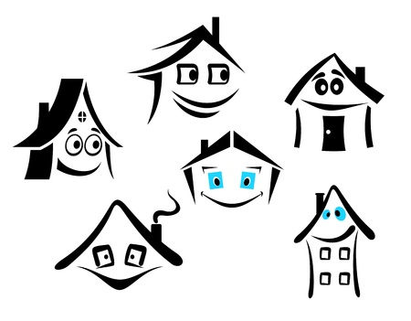 Set of smiling houses for real state design