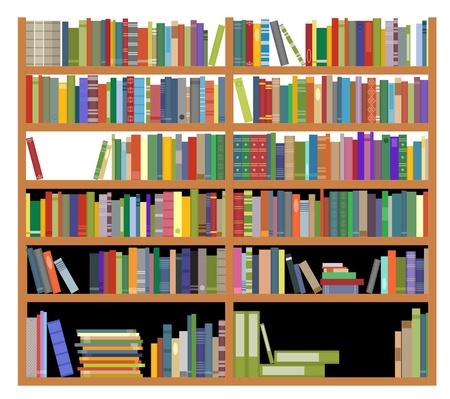 Illustration pour Bookshelf with ancient and modern books isolated on white for education design - image libre de droit