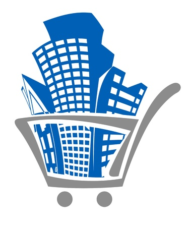 Shopping cart with buildings for real estate design