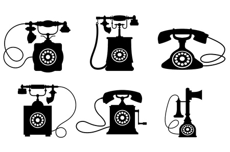Set of old vintage telephones isolated on white background for telecommunication design