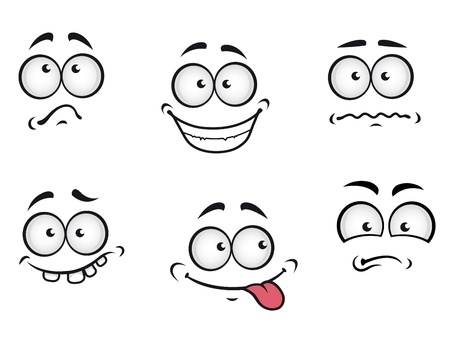 Illustration for Cartoon emotions faces set for comics design - Royalty Free Image