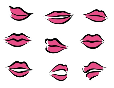 Set of woman lips in cartoon style for fashion and beauty design