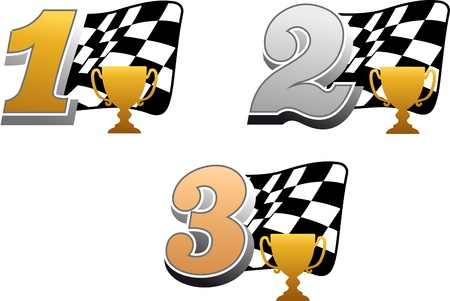 Chequered racing flag with trophy and golden, silver and bronze numbers