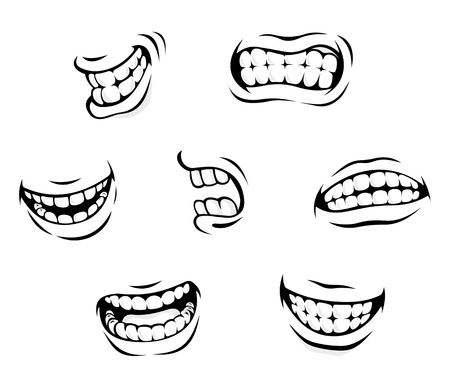 Illustration pour Smiling and angry cartoon teeth isolated on white background - image libre de droit