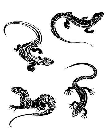 Fast lizards in black color and tribal style for tattoo design