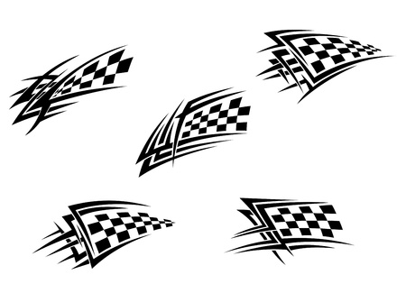 Racing flags in tribal style for tattoo design
