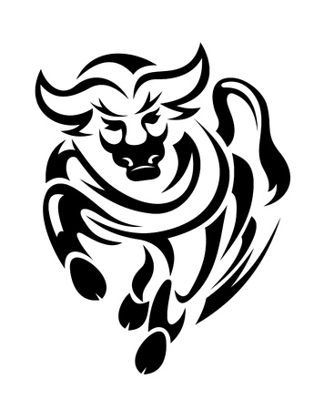 7a9d1bbdb Black bull in tribal style for mascot or tattoo design: Royalty-free ...