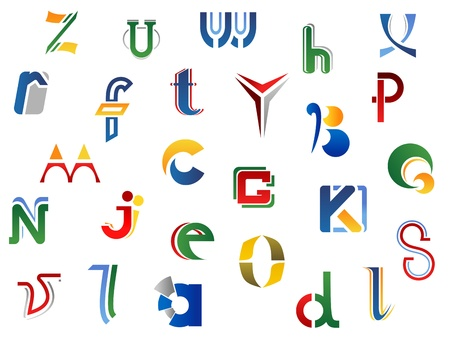 Set of full alphabet letters and icons for alphabet design