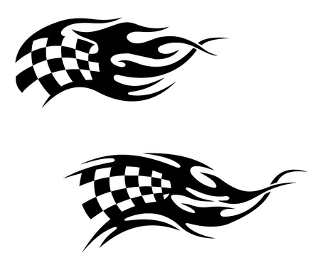 Chequered flag with black flames as a racing or motocross tattoo