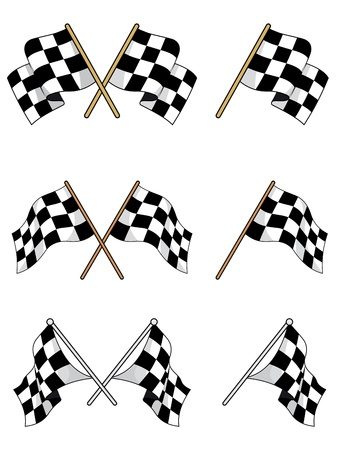 Set of racing checkered flags for sports design