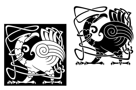 Angry bird in celtic style with ornamental patterns and tracery
