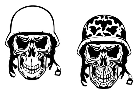 Warrior and pilot skulls in military helmets