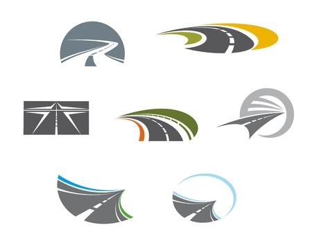 Illustration pour Road symbols and pictograms for transportation design - image libre de droit