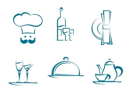 Illustration pour Restaurant icons and symbols set for food service design - image libre de droit
