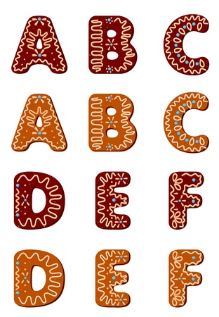 Gingerbread alphabet letters from A to F for christmas or new year holiday design