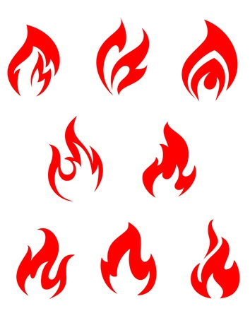 Set of red fire flames for warning symbols